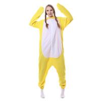 pijamas amarelas venda por atacado-2017 Novo Bonito Animal Mulheres Pijama Pato Amarelo Dos Desenhos Animados Com Capuz Pijamas Set Velo Mangas Compridas Pijama Em Casa Sono Desgaste