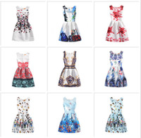 Wholesale Vintage Wedding Gown 18 - European Style Printed Girl's Tutu Dress Kid Clothes Slim Sleeveless Dresses Wedding Vintage Skirt Butterfly Floral New Summer 18 Patterns