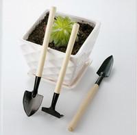 ingrosso mini rastrelli di legno-3pcs / set bambini mini pianta compatto giardino mano strumento di legno kit vanga pala rastrello per giardiniere strumento cultura pentola