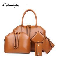 Wholesale Buy Dress Bags - iCeinnight Buy one get four! Women Oil Wax Leather 4 Sets Large Capacity Shoulder Bag Handbags Ladies Zipper Tote Bags Handbag