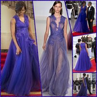 Wholesale Michelle Obama - Purple Celebrity Dresses Michelle Obama Lace Appliques Illusion V Neck Sleeveless Tulle Sexy Back Evening Gowns