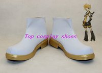 Wholesale Vocaloid Shoes - Wholesale-VOCALOID Kagamine Rin Ren WHITE shoes boots shoe boot gold sole ver2 custom made #SWJ03