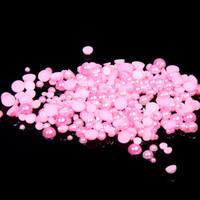Wholesale Pearl Rose Flatback - Light Rose Glue On Half Round Pearls 1.5-9mm Crafts Scrapbook Flatback Non Hotfix Resin Beads DIY Fabric Garments Decorations