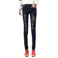 Wholesale Nymph Flies - Wholesale- NYMPH 2017 Fashion Women High Waist Jeans High Elastic Plus Size Women Jeans Woman Femme Washed Casual Skinny Pencil Denim pants