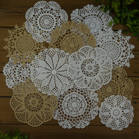 "Wholesale vintage crochet table mats - Lot of 12 pcs crocheted doilies 8White 4Beige 6""- 7""-8""-9"" Vintage crocheted centerpiece table mats for Home wedding decoration"