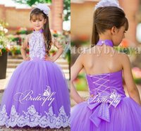 Wholesale Lilac Floral Wedding Dresses - Lilac Lace 2016 Arabic Floral Flower Girl Dresses Halter Beaded Tulle Child Dresses Vintage Beautiful Light Girl Wedding Dresses