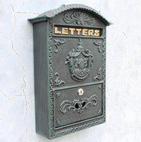 Mailbox outdoor mail box - Cast Iron Mailbox Postbox Mail Box Dark Green Wall Mount Metal Post Letters Box Garden Yard Patio Lawn Outdoor Art