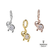 Wholesale Gold Crystal Elephant Jewelry - Trendyou Jewelry Charms Used For Endless Bracelet 2016 New Elephant Dangle Brass Charms Gold Rose Gold Silver Plated With Crystal EDC064-066