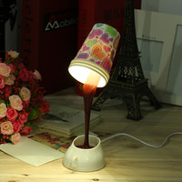 Wholesale Table Lamps Usb - New Arrival Fashion Modern DIY Creative Pouring Coffee LED Table Lamp USB Multicolor Shape Night Light Newest