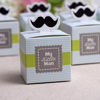 Wholesale Wholesale Mustache Candy - Wholesale- Free shipping 10pcs Lot My Little Man cute Mustache Birthday party Boy Baby Shower Favor Candy Treat Bag baby shower souvenirs