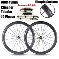 Golf Surface Dimple Roues au carbone Powerway R13 Concentrateurs 700C 45MM Profondeur 25mm Largeur Tubular Clincher <b>UD Weave</b> Road Bicycle Wheelset