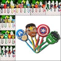 Wholesale Wholesale Magazine Paper - Wholesale-Boys' Love 100PCS Avengers Assemble Bookmarks,PVC Cartoon Paper Clips,Magazine Label Reading Office Supplies Best for Gifts