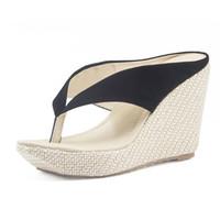 Wholesale Wholesale High Heel Slippers - Wholesale- Women's Sandals Bohemia Wedges Slippers Fashion Platform Shoes Woman Black High Heels Flip Flops Concise Beach Sandals for Women