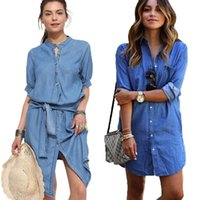 Wholesale ladies denim shirt xl - New Women Vintage Casual Loose Shirt Dress Stand Collar Blue Jeans Denim Shirt Dress Ladies Belt Mini Dress