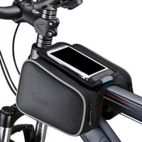 Sac Latéral Pour Téléphone Portable Pas Cher-Bicyclette Tube avant Sac Bike Head Frame Sac étanche Top Tube pour 5 5,5 pouces Cell Phone Holding Pouch Double Side Bikes Cycling Pocket