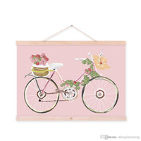 original vintage poster - Mild Art Original Flowers Bicycle Handpainted Bike Pink Vintage Retro Rose Girly Posters Prints Bedroom Home Wall Decor Gift Canvas Painting