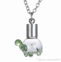 "Wholesale Wholesale Little Gift - 2016 Fashion Men's Jewelry Corsair Necklaces Dried Dandelion Seed Little Turtle Glass Pendant Necklace with 24"" Rolo Chain 156N50"