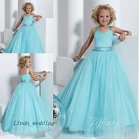 güzel mavi kızlar elbiseli elbise toptan satış-Güzel Güzel Bebek Mavi kızın Pageant Elbise Parti Cupcake Çiçek Kız Küçük Çocuk Için Güzel Elbise