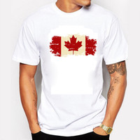 Wholesale Canadian Flags - Canada Flag Fashion Tee shirts 100% Cotton Short Sleeve T-shirts Canadian Maple Leaf Summer Style Fitness Gym T shirts Men