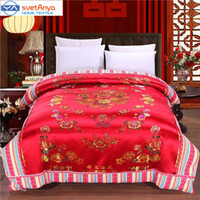 Wholesale Silk Quilt Comforter Black - Towel Red Sateen Silk Quilt cover Queen King size weeding Comforter Case with China Dragon Phoenix Childrens Flowers Pattern blanket