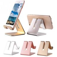 aluminium telefonhalter großhandel-Universal Handy Tablet Schreibtisch Halter Luxus Aluminium Metall Ständer für iPhone iPad Mini Samsung Smartphone Tabletten Laptop