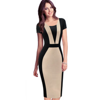 Wholesale business casual online - New Womens Elegant Optical Illusion Colorblock Contrast Modest Slim Work Business Casual Party Sheath Pencil Dress Plus Sizes DK3030CL