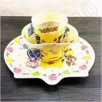 Wholesale China Baby Supplies - Poke Mon Cartoon Baby Cutlery Dinnerwear Sets Catering Supplies Three Piece Sets Of Pikachu Children Dinnerware Sets LJJC5073 30set