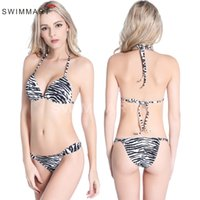 Wholesale Sexy Push Up Bathingsuit - New design fashion brazilian bikini wild nature women bikini zebra-stripe sexy summer swimwear push up bikini lady's bathingsuit DHL free