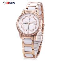 Wholesale Artificial Sapphire - Free Shipping NESUN LS9069 Women Brand Quartz Watch Artificial Diamond Hollow Clover Dial 10ATM Luminous Wristwatch