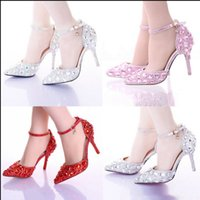 Wholesale Bride Heel Sandals - Bride Shoes Pointed Toe High Heel Stiletto Shoes Ankle Strap Wedding Party Shoes Silver Pink Red Color Summer Sandals