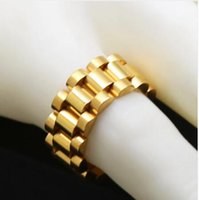 Wholesale solid gold man ring - 2018 Hip Hop pendant mens jewerly men ring 316L Mens Stainless Steel 24K Golden President Link Style Ring Hip Hop 10mm Band Ring solid link
