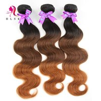 Wholesale 18 Inch Brazilian Remy Hair - 3 Tone Ombre Weaves 3pcs Brazilian Remy Hair Bundles HLSK Queen Hair 18 Inches Brazilian Body Wave Double Weft 7A