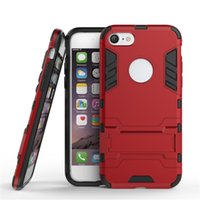 Wholesale Iphon5 Cases - Iron Man Armor phone Cases 2 in 1 Support Mobile Phone protection shell For iphon5 5S SE 6 6S 7 plus with stand