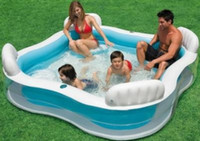Wholesale Family Swimming Pools - Backrest Seat Paddling Pool Huge Family Swimming Pool Sea Pool for Kid Child Summer Outdoor Play