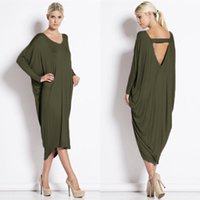 Wholesale Drop Ship Backless Dress - New Arrival Women's Asymmetrical Long Sleeve Bandage Backless Loose Dresses Ladies Black Fashion Casual Batwing Sleeve Dress Drop Shipping
