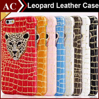 Wholesale Luxury Bling Leopard Case - Luxury 3D Crystal Metal Leopard Head Case PU Leather Hard Bling Diamond Back Cover Dragon Protective Phone Skin For iPhone 5S SE 6 6S Plus