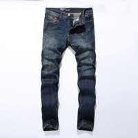 Wholesale Mens Cotton Leisure Trousers - Wholesale-New Arrival Fashion Mens Jeans Straight Fit Leisure Quality Cotton Biker Jeans Denim Trousers CN Brand Ripped Jeans Pants 5001