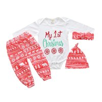 Wholesale Cartoon Wear New Cloth - New My First Christmas Baby Boy Girls Print Tops Romper Clothes Sets Christmas Party Clothing Wear Snow Outfit Set Clothes