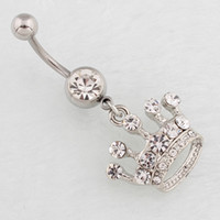 New Sexy Silver Crystal Crown Navel Belly Button Barbell Ring Mulheres requintado Body Piecing Jewelry
