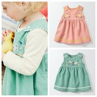 Wholesale corduroy girls tutu dress online - 2017 Fashion Autumn baby girls vase dress kids girls embroidered elastic force corduroy skirt baby cute sleeveless bowknot dress