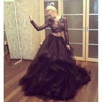 Wholesale Teen Long Sleeve Spring Dress - 2016 Modest Two Pieces Prom Dresses Sexy Sheer Lace Applique Jewel Neck Long Sleeve Stunning Black A Line Tiered Organza Teen Pageant Dress