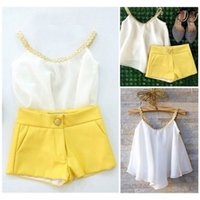 Wholesale Clothes Children Years - Fashion Girls Outfits White Braces Top+Pants Hot Sale Summer Children Clothes 2-10 Years Kids Girls Outfits 2 pieces sets
