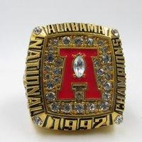 anel de ouro carmesim venda por atacado-Venda quente Moda Bonito Cristal Banhado A Ouro Fãs NCAA 1992 Alabama Crimson Tide Liga Anel de Campeonato