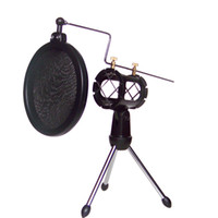 Wholesale Desktop Conference Microphone - Top Quality Adjustable Studio Condenser Microphone Stand Microhone Holder Desktop Tripod for Microphone with Windscreen Filter Cover