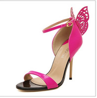 """Wholesale Gold Butter - Lady T-show Butter-fly The Vampire Diaries Buckle strap Peep Toe Nigh club 3.93"""" High heels Sandalias Women Party Novelty Pumps"""