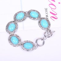 Wholesale Silver Euro Bracelets - Turquoise Bracelets Fashion Silver plated Bracelets for Women Jewelry New Arrival Euro-American Retro Jewelry Alloy Oval