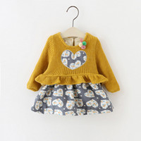 Wholesale Two Piece Knit Dresses Spring - Baby Girls Heart Dresses False Two Pieces with Ruffle at Waist Kids Boutique Dresses Little Girls Knit Top Long Sleeves Dresses