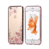 Wholesale Flower Garden Edging - Gold Electroplated TPU Flower Garden Cases For Samsung Galaxy S7 Edge Glitter Bling Diamond Cover Iphone SE 5S 6S Plus Galaxy S6 Note