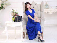 Wholesale Women Dress Skirt Wind - The European and American wind posed long skirt in the summer of 2016 new female leisure dress short sleeve cultivate one's morality show th