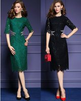 Wholesale Long Sleeve Formal Bodycon Dress - High Quality Sexy Beaded Elegant Lace Dress Midi Long Women's Dress Business Eveing Dress Lady's Formal Dresses Bodycon